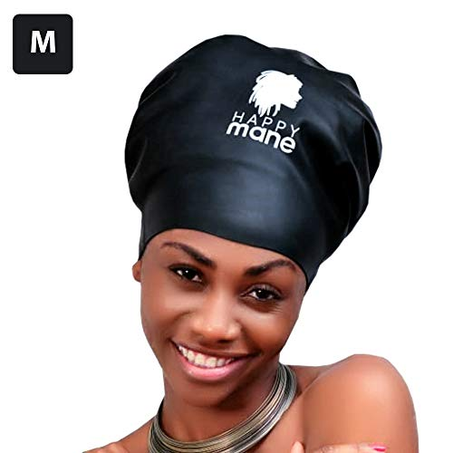 Happy Mane Silicone Swim Cap for Braids and Dreadlocks – Keeps Your Hair Dry While Swimming and Bathing Long Hair, Extensions, and Curly Hair – Large & XL Shower Cap for Women, kids, Black, M:Teenager