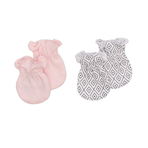 Petit Lem Baby Girls 2-Pack Mitts, Organic Cotton, Adorable, Soft and Comfortable, light pink OS