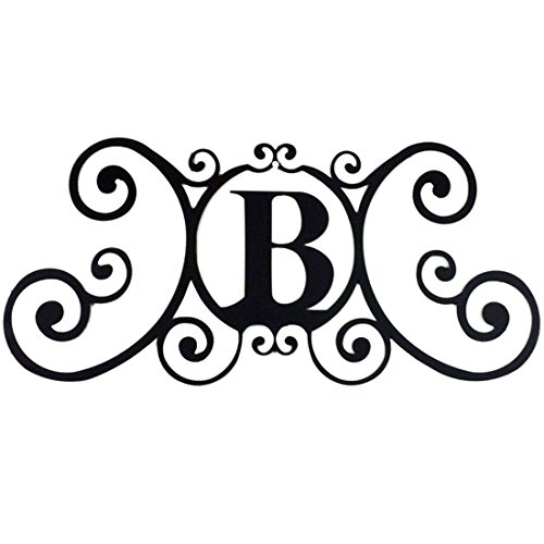 24 Inch House Plaque Letter - Wrought Iron Metal Scrolled Monogram Initial Letter Home Door Wall Hanging Art Decor Family Name Last Name Letter Sign (B, 24 x 11 inches,Thick 0.078 inch (2mm)) (Decor Sign Metal)