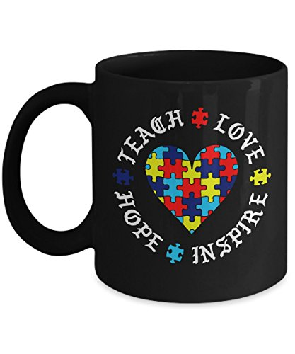 Teach Love Hope Inspire - Autism Awareness Teachers Mugs - Hot Coffee Autistic Black Mug (Viral Christmas Gifts Tree)