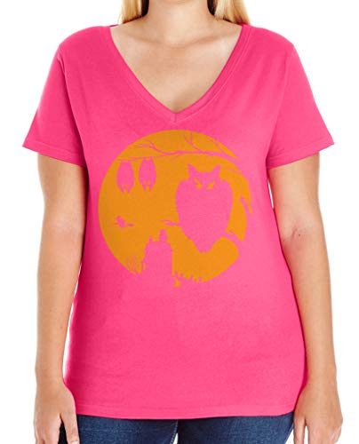 Tenacitee Women's Halloween Moon Plus Size V Neck T-Shirt, Size 3, Hot -