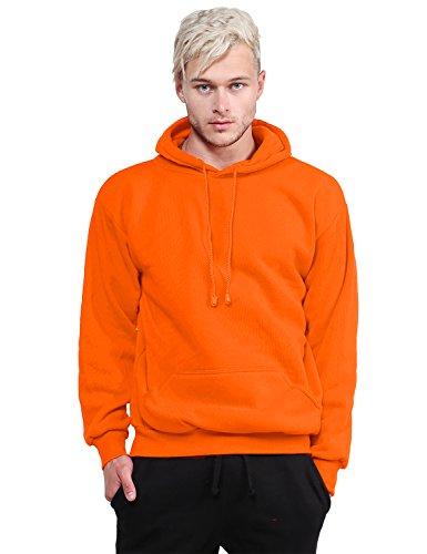 Style by William Basic Pullover Fleece Hooded Sweatshirt Bright Orange XL Size