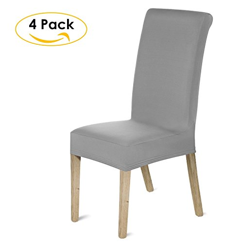 HOMFA Stretch Chair Cover Slipcover Dining Room, Furniture Protector for Home Kitchen Hotel Ceremony(Set of 4, Gray)