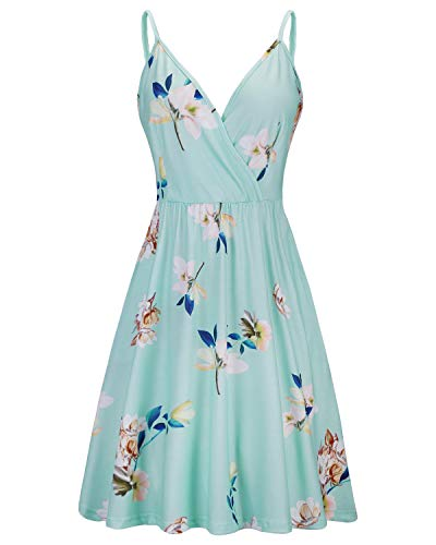 STYLEWORD Womens V Neck Floral Spaghetti Strap Summer Casual Swing Dress with Pocket