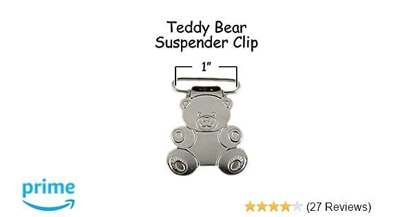 1 5 Lead Free 25mm Bear Shaped Suspender Bib Pacifier Dummy Clip Buckle Teething