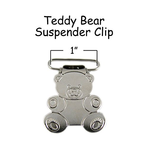 25 - 1 Inch Teddy Bear Metal Suspender Clips - w/ Rectangle Inserts