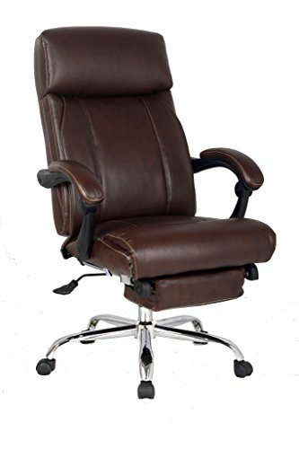 VIVA OFFICE High Back Bonded Leather Recliner Chair with Footrest, Brown