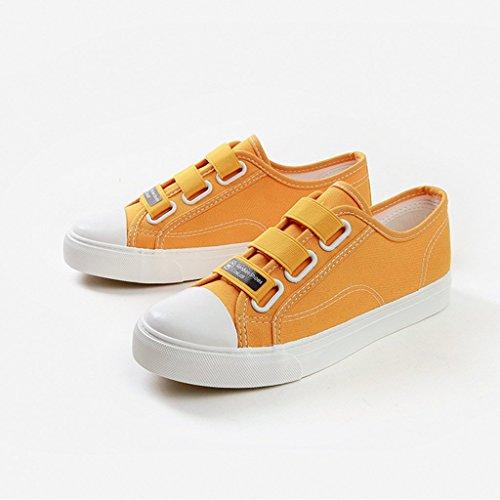Correa SHI Color Mujeres Planos Lona Skate de de Ocasionales de de Amarillo los Blanco Transpirable Zapatos Zapatos elástica Las Zapatos la de Tamaño Deportes 39 qvn0rvxR