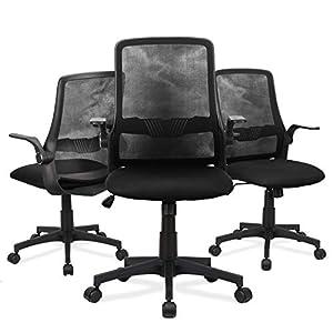 Chaise de Bureau à Domicile Komene, Chaise de Bureau Ergonomique, Chaise d'ordinateur en Maille avec accoudoirs…