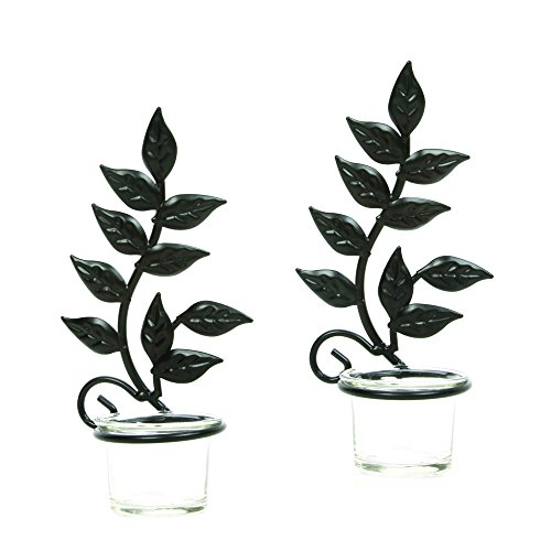 "Hosley Set of Two 8"" Iron Wall Sconce, LED Tea Light Candle"