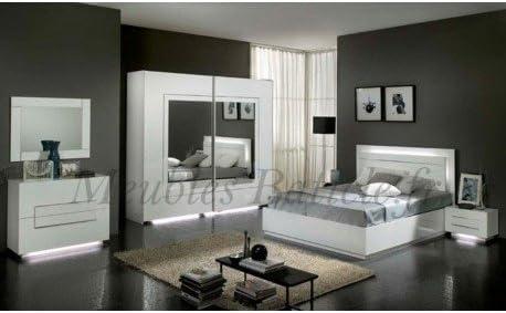 Chambre Adulte Complete Design Blanc Laque City Amazon Fr Cuisine Maison