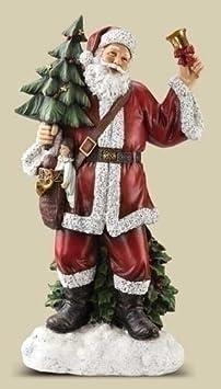 Roman Josephs Studio Slim Profile Santa Holding a Tree and Ringing a Bell Figurine, 30-Inch