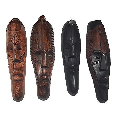 "12"" - 13"" African Cameroon Fang Wall Masks (Set of 3 Masks handicrafts): Brown and Black"