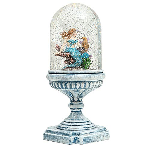 QTMY Mermaid Snow Globes Water Lantern with LED Night Lights Decorative Lamp for Home Decor,B