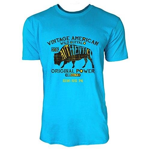 SINUS ART ® Vintage American Wild Buffalo Herren T-Shirts in Karibik blau Cooles Fun Shirt mit tollen Aufdruck