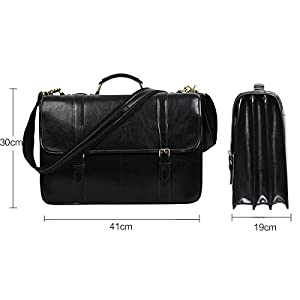 Leathario Leather briefcases for Men briefcases Laptop Bag Genuine Leather Messenger Bag 15.6 Inch Laptop Shoulder Business Office Bag