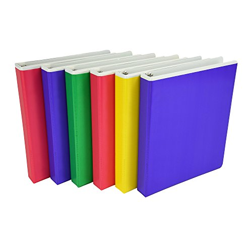 3 Binders Colored Ring (Samsill Fashion Color Pocket Tinted Overlay 3 Ring Binder, 1 Inch Round Rings, Customizable, Assorted Colors  (Pink, Purple, Green, Yellow), Bulk Binders - 6 Pack)