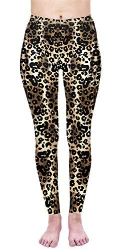 Alive Digital Printed Women's Full-Length Yoga Power Flex Dry-Fit Pants Workout Leggings Ombre Print Thin Capris(XS - L) (Dark Gold Leopard) ()