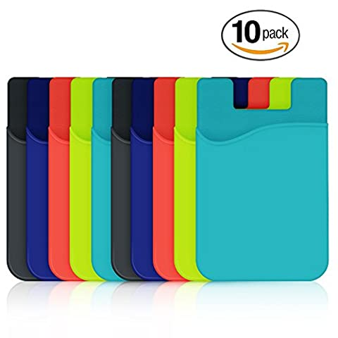 Credit Card Holder, HUO ZAO Silicone Phone Card Id Cash Wallet with 3M Adhesive Stick-on fits Apple iPhone Samsung Galaxy Android Most Smartphones, Table, Refrigerator, Door - Multi Colors - 10 (Real Tree Camo Case For Ipod 5)