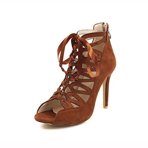 stivali sandali dei tacchi sexy sandali Raptor fighi e cerniere alti Brown pxqx514