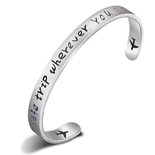 ENSIANTH Safe Travels Bracelet Pilot Gift Airplane Cuff Bracelet Traveling Bracelet Aviation Jewelry Flight Attendant Gift (Silver)