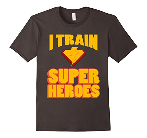 Mens I Train Super Heroes T-Shirt for Awesome Teachers Medium Asphalt - Superhero Costume Ideas For Teachers