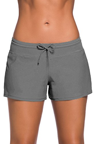 BURKLUM Women's Comfortable Swim Boardshort Waistband Swimsuit Bottom Gray Small
