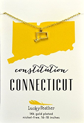 "Lucky Feather Connecticut Shaped State Necklace, 14K Gold-Dipped Pendant on Adjustable 16""-18"" Chain"