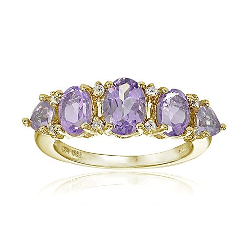 Yellow Gold Flashed Sterling Silver Amethyst and White Topaz 5-Stone Half Eternity Band Ring, Size 7 ()