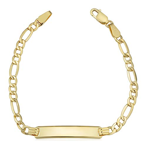 Kooljewelry 14k Yellow Gold High Polish Figaro ID Bracelet (5.5 inch)