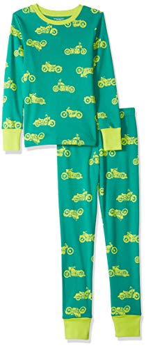 Amazon Essentials Toddler Boy's Long-Sleeve Tight-Fit 2-Piece Pajama Set Sleepwear, Motorcycle Dark Green/Lime, 2T ()