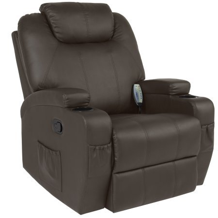 Swivel Leather Full Glider Recliner (PU Leather Swivel Massage Recliner with 5 Different Modes, Heating, Massage Intensity Control, 2 Cup Holders, Storage Side Pockets, Living Room, Family Room, Home Office, Furniture, Brown Color)
