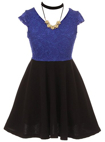 Big Girls Elegant Cap Sleeve Floral Lace Top Neckband Easter Party Flower Girl Dress Royal Blue 12 (2J1K0S7)