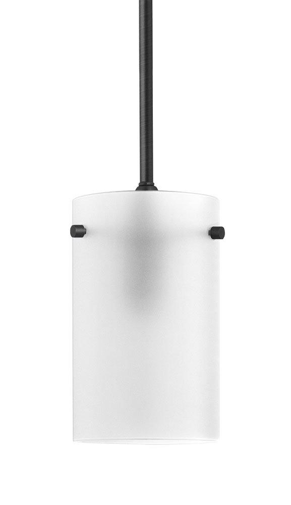 Effimero Medium Pendant Light Industrial Frosted Glass -Black- Linea di Liara LL-P314F-BLK