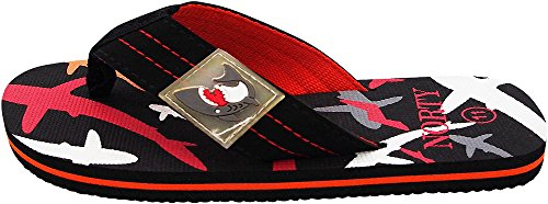 Picture of NORTY - Little Boy's Shark Graphic Flip Flop Thong Sandal, Black, Red 40648-1MUSLittleKid