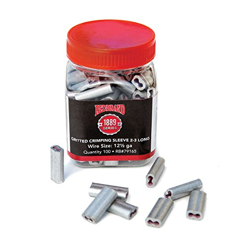 - Red Brand Crimp Sleeves - for Size 2-3 Long Fence Wire : Qty 100 Connectors