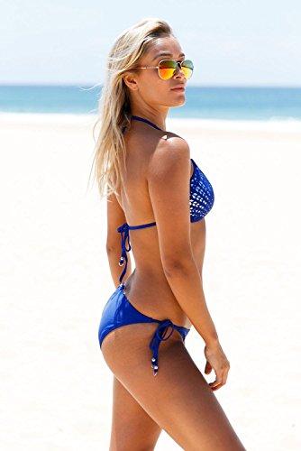 QIFEI Plata hueco patrón 2pcs Blue Halter Bikini Swimsuit , xl l