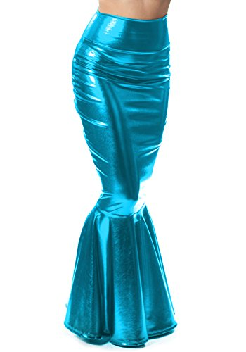 (Sidecca Faux Leather Wet Look Metallic Mermaid Costume Maxi Skirt (Large, Turquoise))