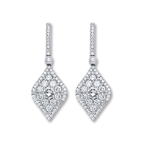 Jareeya-Or blanc 18ct 1,50CT Diamant Boucles d'oreilles pendantes