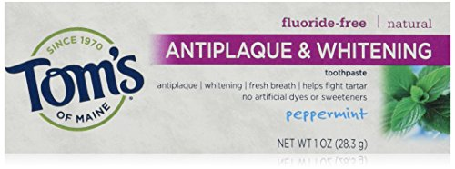 Tom's of Maine Natural Fluoride Free, Antiplaque Tartar Control & Whitening Toothpaste, Peppermint, 1 Ounce, Pack of 12
