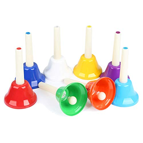 Ehome Hand Bells Set, 8 Note Diatonic Metal Bells, Musical Bells for Kids, Children and Toddlers, Musical Learning at an…