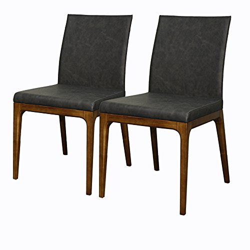 New Pacific Direct Devon PU Leather Chair,Walnut Brown Legs,Antique Gray,Set of 2