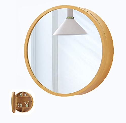 500/600Mm Bathroom Wall Cabinets with Round Mirrored Doors 3 Storage Shelves Soft -