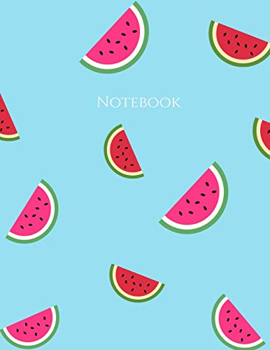 Notebook: Large Lined Notebook Watermelons Blue