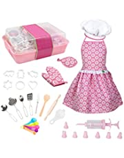 Toyvian 20Pcs Kids Cooking and Baking Set Kids Chef Role Play Costume with Apron Cooking Mitt Baking Tools for Boys Girls Toddler Children