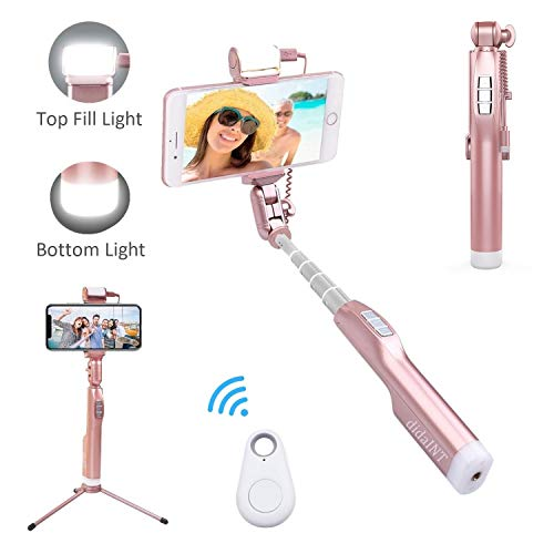 Bluetooth Selfie Stick, DidaINT Metal Tripod with Wireless Remote, 2 Fill Light and Mirror, 360 Degree Rotation Phone Holder for iPhone XR/XS/X/8/7 Plus, Galaxy S10/9/8/Note, Android Phone (Rose Gold) (Photo Mirror A Rod)