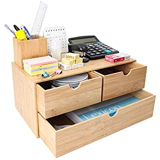 Bamboo Desk Organizer - Mini Bamboo Desk Drawer Tabletop Cosmetic Storage Organization for Office or Home (3 Drawer)
