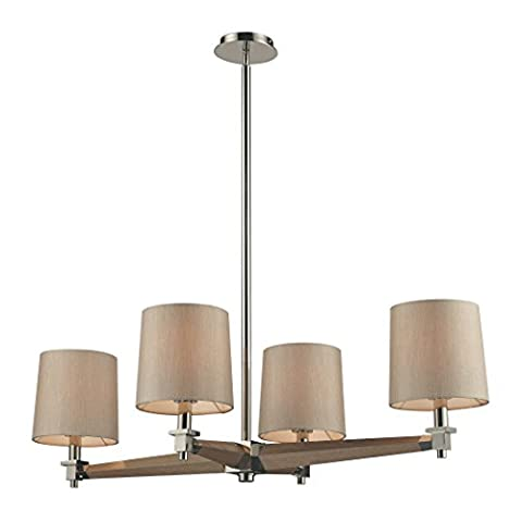 Alumbrada Collection Jorgenson 4 Light Chandelier In Polished Nickel And Taupe Wood - Tapered Angle Mahogany Finish