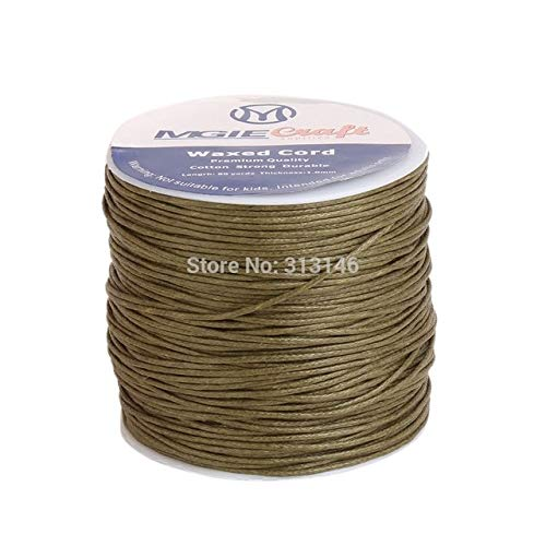 Laliva 50 Colors 100yards Waxed Cotton Cord 1mm Thread String Rope Spool Wire fit Beading Craft DIY Bracelet Necklaces Jewelry Findings - (Color: Olive Green) ()