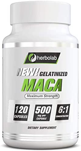 Herbolab Maca Concentrate 1 6, Black Purple Low-Temp Gelatinized Maca Root 100 Pure Organic Vegan, 120x500mg, Potent Energizer AKA Lepidium meyenii, Peruvian Ginseng